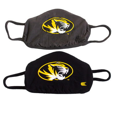 Mizzou Oval Tiger Head Two Pack Black and Charcoal Face Masks