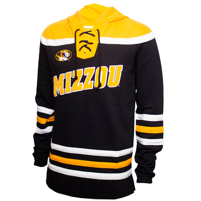 Mizzou Tiger Head Black Hockey Jersey Hoodie