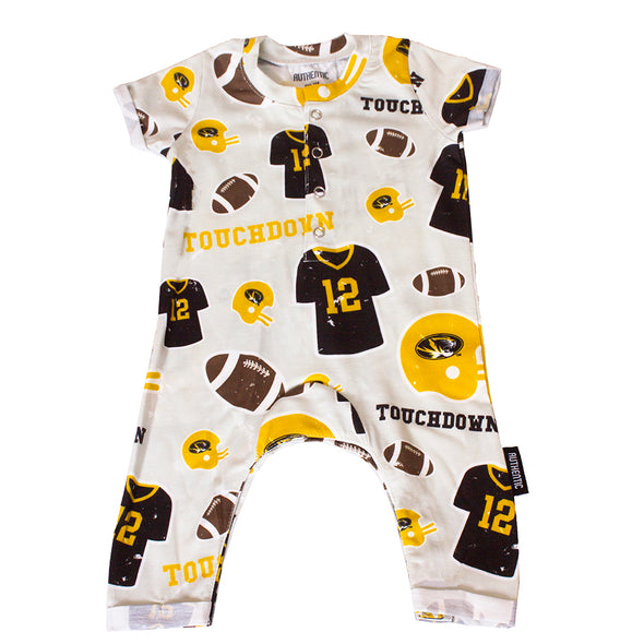 Mizzou Oval Tiger Head Football Grey Infant Jumpsuit