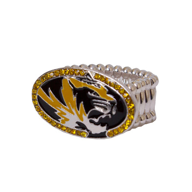 Mizzou Oval Tiger Head Rhinestone Ring
