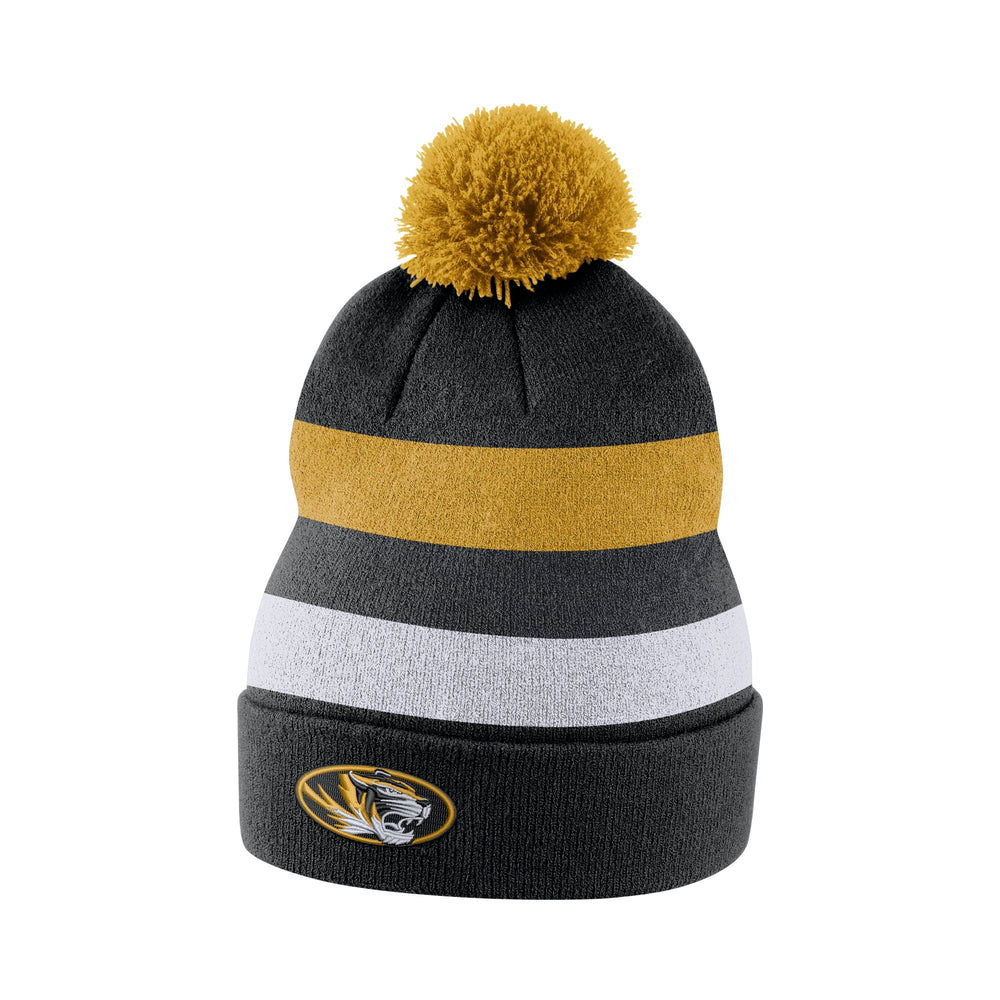 e3823c931aa Mizzou Nike® 2017 Sideline Striped Oval Tiger Head Beanie with Cuff and Removable  Pom