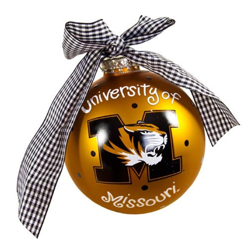 University of Missouri M Tiger Head Gold Glass Ball Ornament