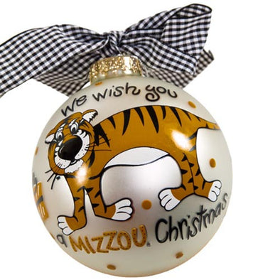 Mizzou Truman Christmas White Glass Ball Ornament