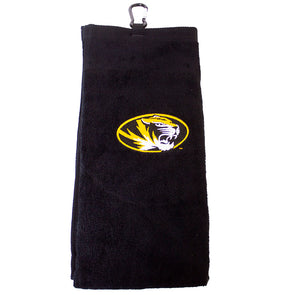 Mizzou Oval Tiger Head Black Golf Towel