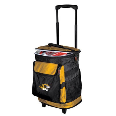 Mizzou Tiger Head Black & Gold Rolling Cooler