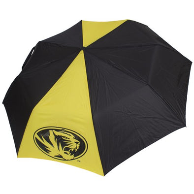 Mizzou Black and Gold Spirit Folding 3 Logo Umbrella