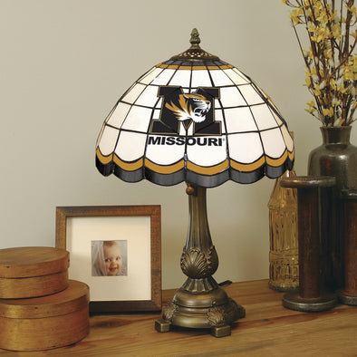 Missouri M Tiger Head Stained Glass Round Lamp