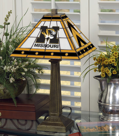 Missouri M Tiger Head Stained Triangle Glass Lamp