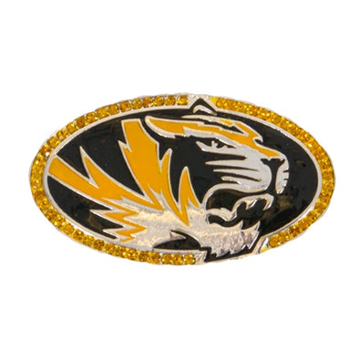 Mizzou Oval Tiger Head Rhinestone Black & Gold Pin