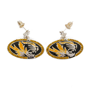 Mizzou Rhinestone Oval Tiger Head Earrings