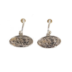 Mizzou Oval Tiger Head Silver Earrings