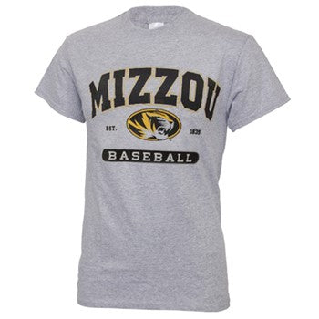 Mizzou Oval Tiger Head Grey Baseball T-Shirt