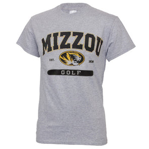 Mizzou Golf Grey Short Sleeve Crew Neck T-Shirt