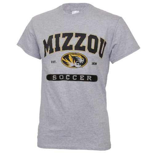Mizzou Soccer Grey Short Sleeve Crew Neck T-Shirt