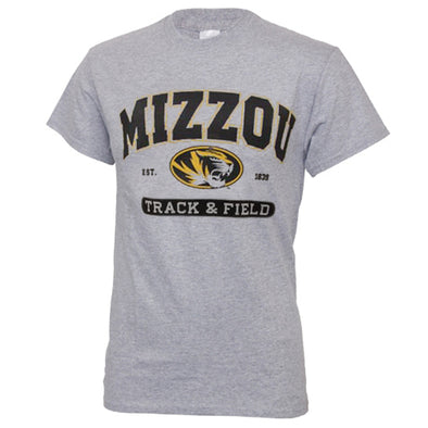 Mizzou Track & Field Grey Short Sleeve Crew Neck T-Shirt