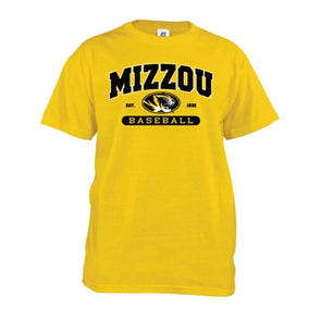 Mizzou Oval Tiger Head Gold Baseball T-Shirt