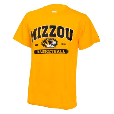 Mizzou Basketball Oval Tiger Head Gold Short Sleeve T-Shirt