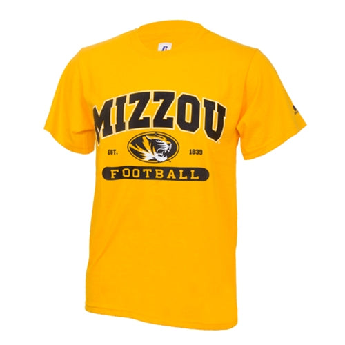 Mizzou Football Oval Tiger Head Gold Crew Neck T-Shirt