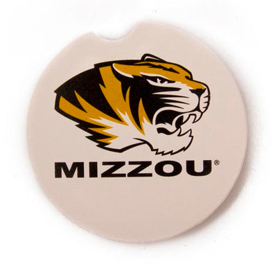Mizzou Tiger Head White Car Coaster