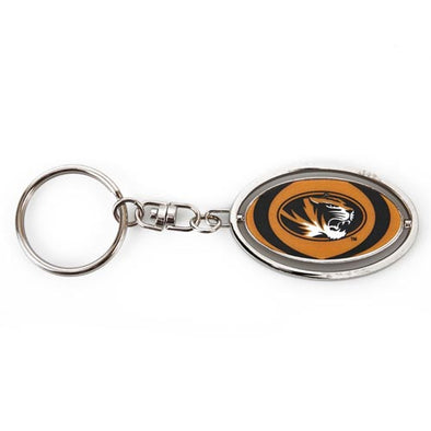 Mizzou Oval Tiger Head Gold Spinner Keychain