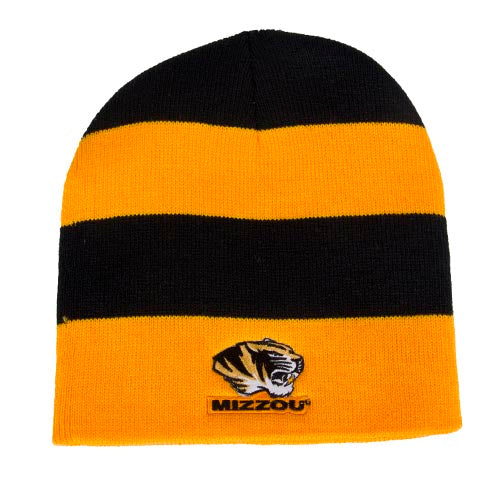 ade877637f1 Mizzou Tiger Head Black   Gold Rugby Striped Beanie – Tiger Team Store