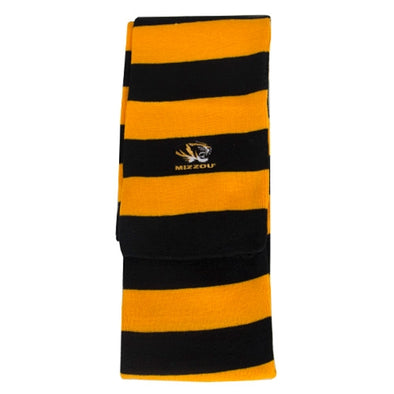 Mizzou Tiger Head Black & Gold Rugby Striped Scarf