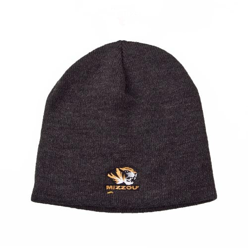 Mizzou Tiger Head Knit Grey Beanie