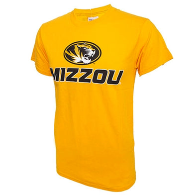 Mizzou Oval Tiger Head Gold Crew Neck T-Shirt