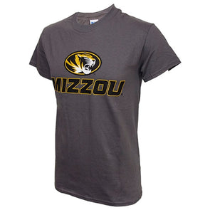 Mizzou Oval Tiger Head Charcoal Crew Neck T-Shirt