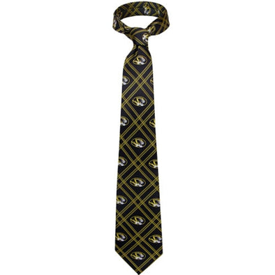 Mizzou Oval Tiger Head Black Windowpane Tie