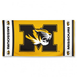 Missouri Tiger Head Black and Gold Beach Towel