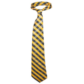 Mizzou Tiger Head Black & Gold Checkered Tie