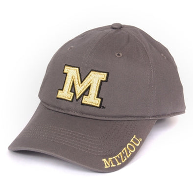 Mizzou Women's Metallic Block M Grey Adjustable Hat