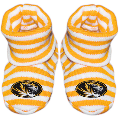 Mizzou Newborn Oval Tiger Head Striped Gold Booties