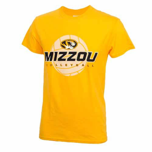 Mizzou Volleyball Gold Short Sleeve Crew Neck T-Shirt