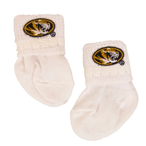 Mizzou Newborn Oval Tiger Head White Booties