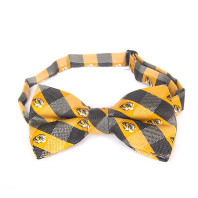 Mizzou Tiger Head Black & Gold Checkered Bow Tie