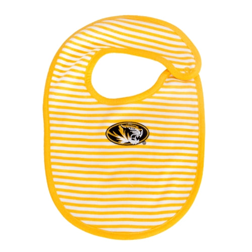 Mizzou Oval Tiger Head Striped Gold Bib