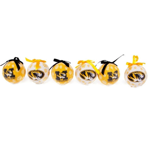 Mizzou Boxed LED Tiger Head Missouri Ornament Box of 6