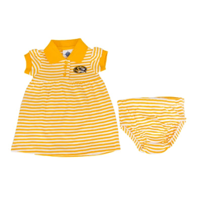 Mizzou Toddler Oval Tiger Head Gold Dress & Bloomer Set
