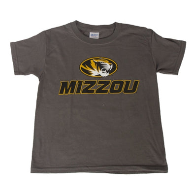 Mizzou Kids' Oval Tiger Head Charcoal Short Sleeve Crew Neck T-Shirt