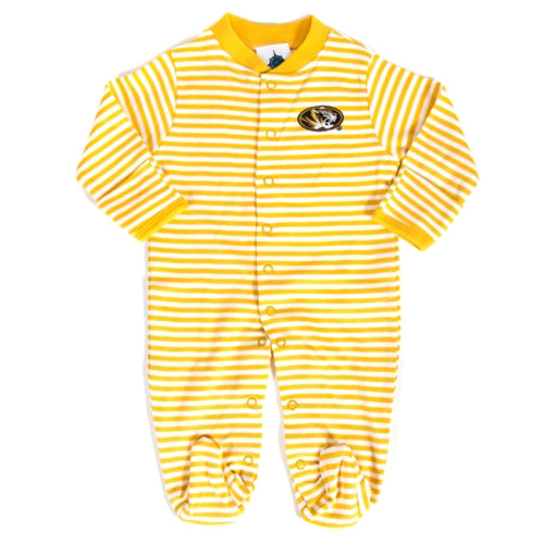 Mizzou Oval Tiger Head Gold Striped Footed Onesie Romper