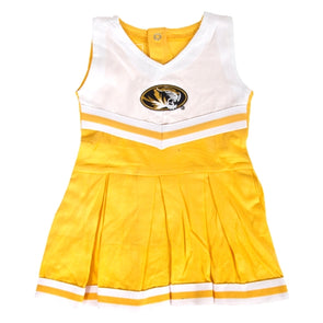 Mizzou Infant Oval Tiger Head Gold & White Cheerleader Set