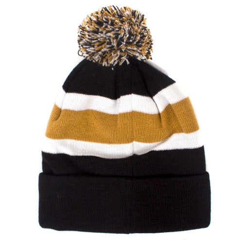 Mizzou Tiger Head Black & Gold Beanie with Pom