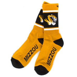 Mizzou Tiger Head Black & Gold Socks