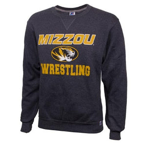 Mizzou Wrestling Oval Tiger Head Charcoal Crew Neck Sweatshirt