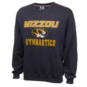Mizzou Gymnastics Oval Tiger Head Charcoal Crew Neck Sweatshirt