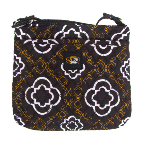 Missouri Quilted Black and Gold Quatrefoil Woven Purse