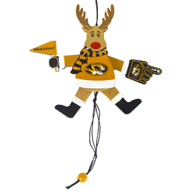 Mizzou Wooden Cheering Reindeer Ornament