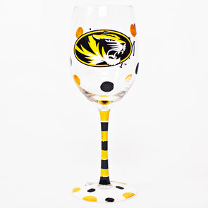 Missouri Tigers Oval Tiger Head Hand Painted Wine Glass